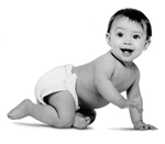 photo of white or Hispanic baby crawling in diaper